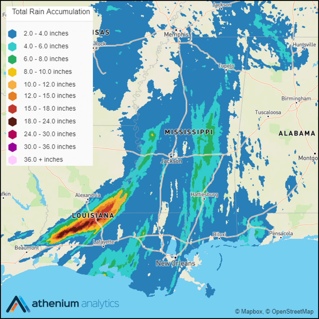 Hurricane Barry rainfall swath