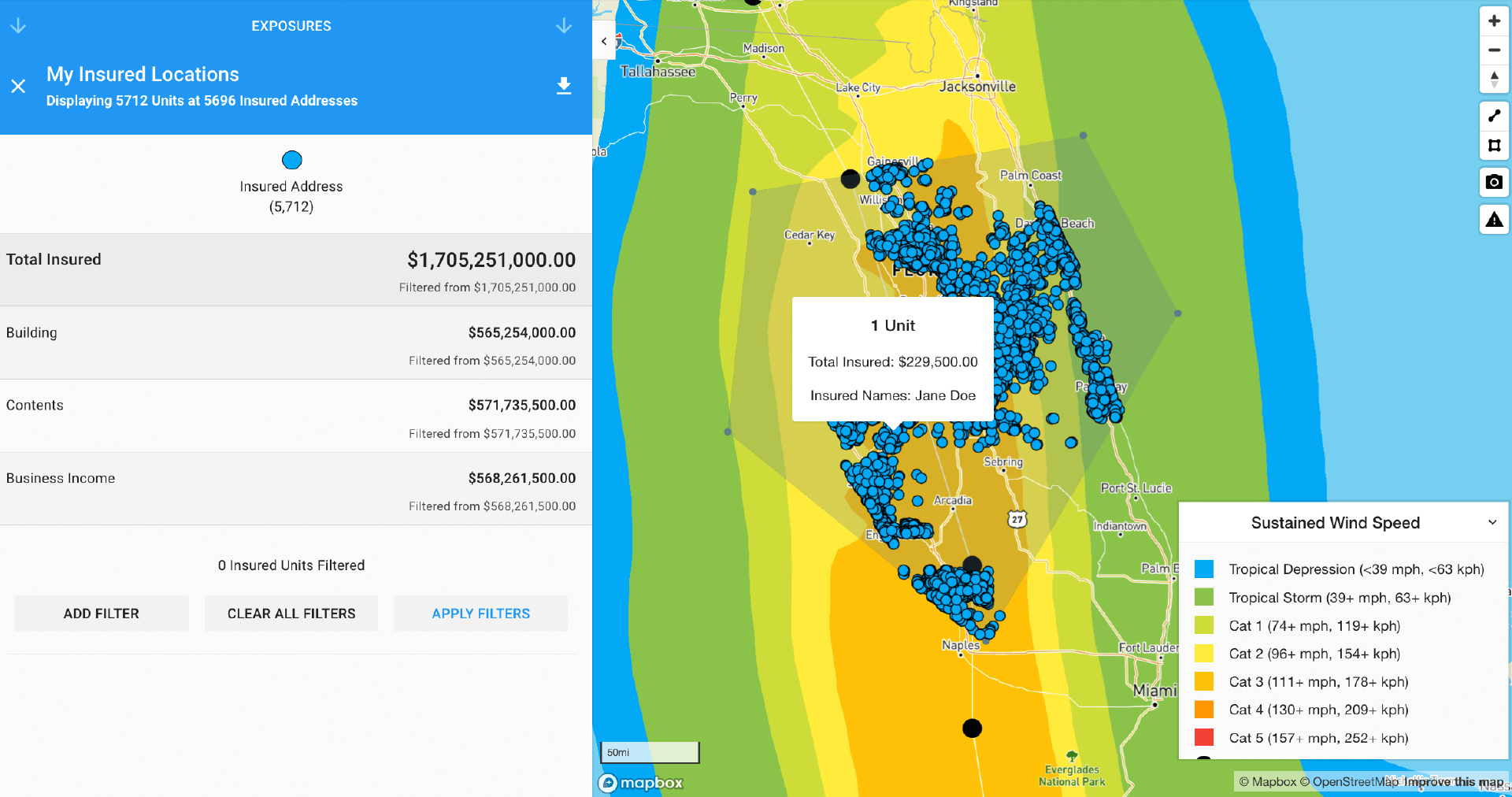Map property exposures for hurricane risk insurance