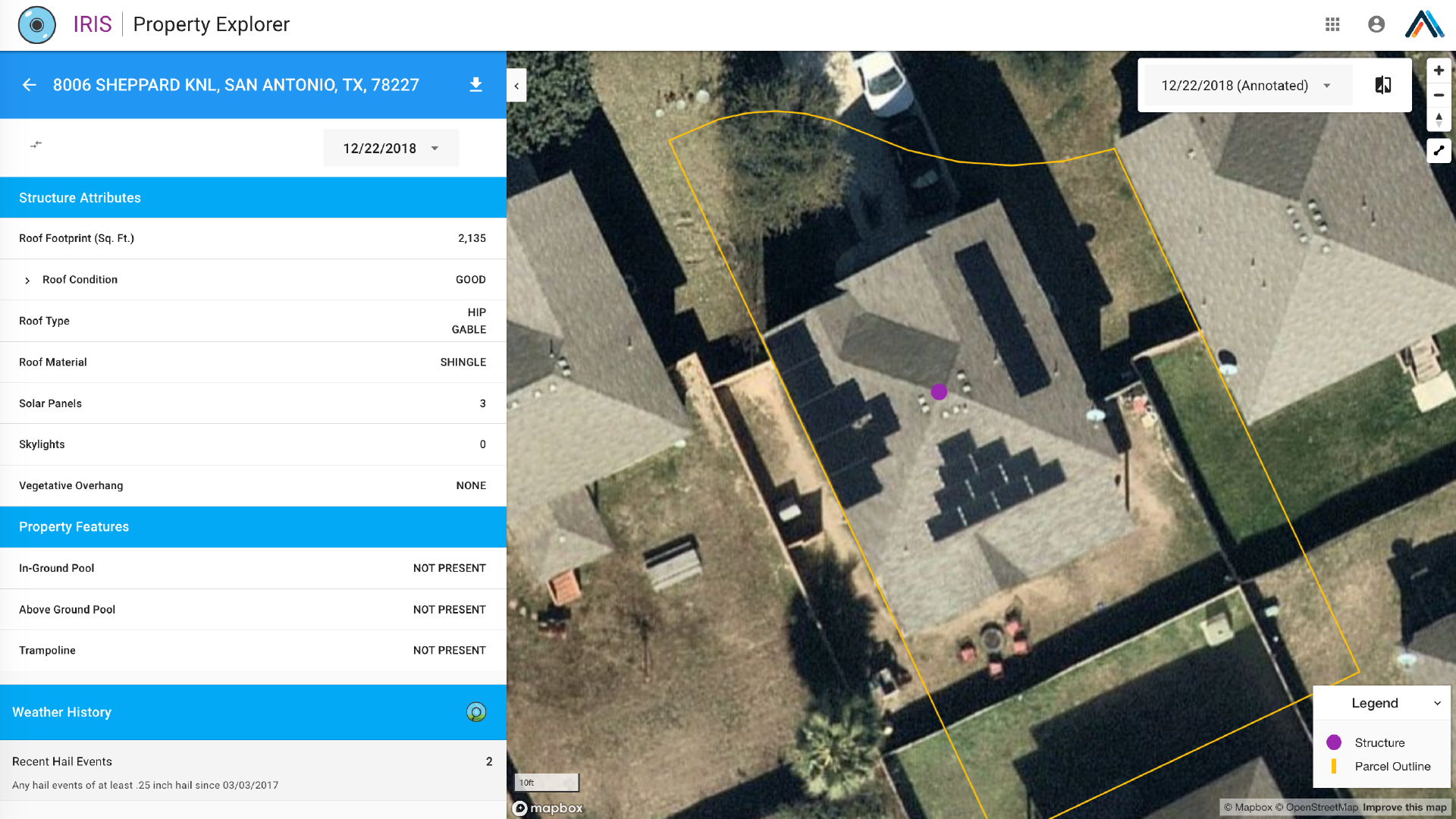 IRIS aerial imagery property analytics for insurance