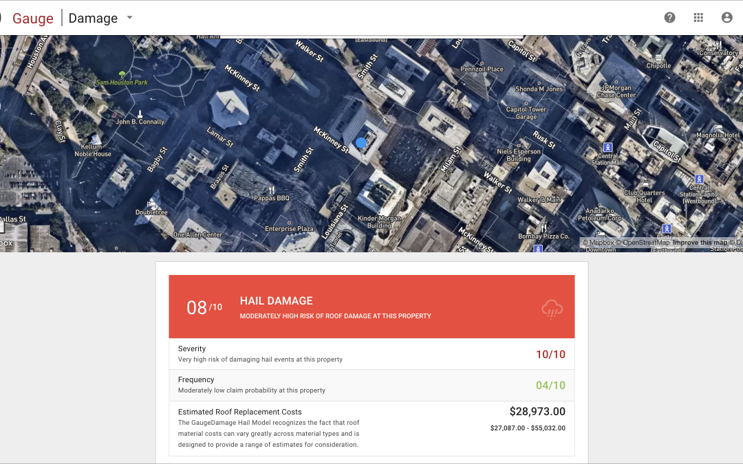 GaugeDamage insurance hail roof replacement estimator