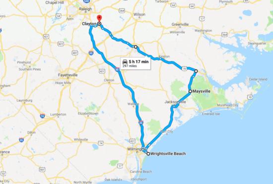 Hurricane Arthur travel map