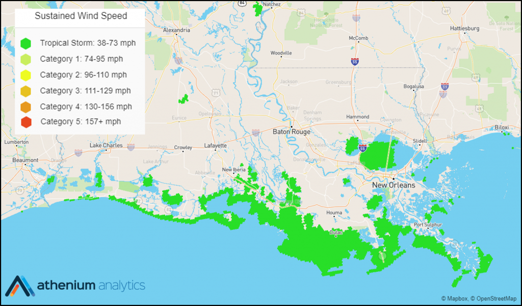 Hurricane Barry Wind Speeds