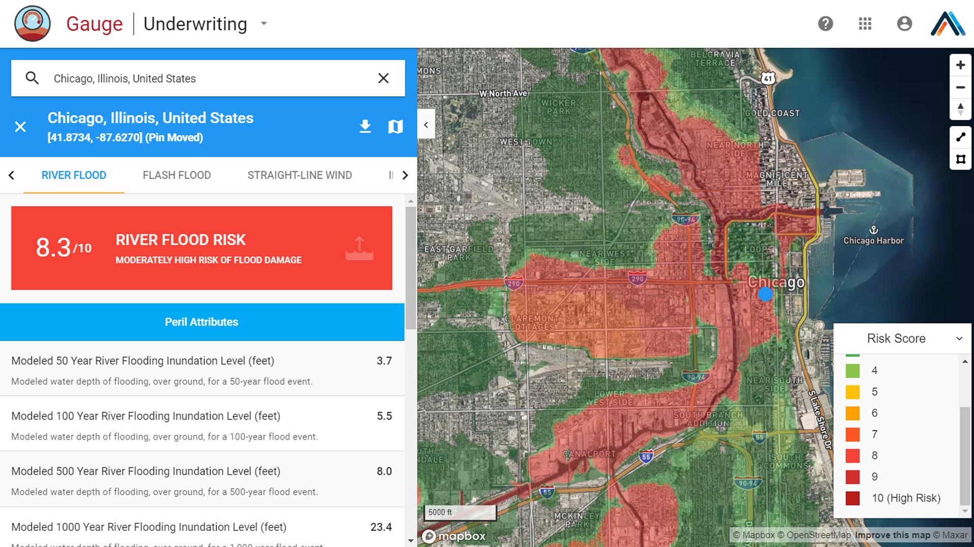 Chicago river flood risk map for insurance
