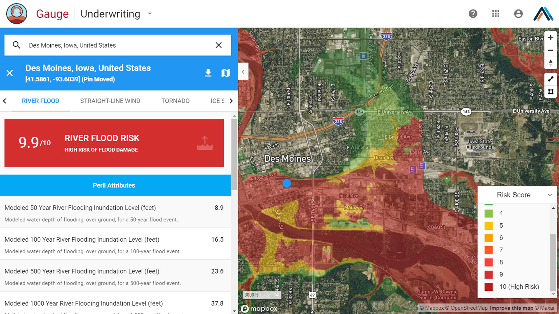 Des Moines Iowa flood map for insurance