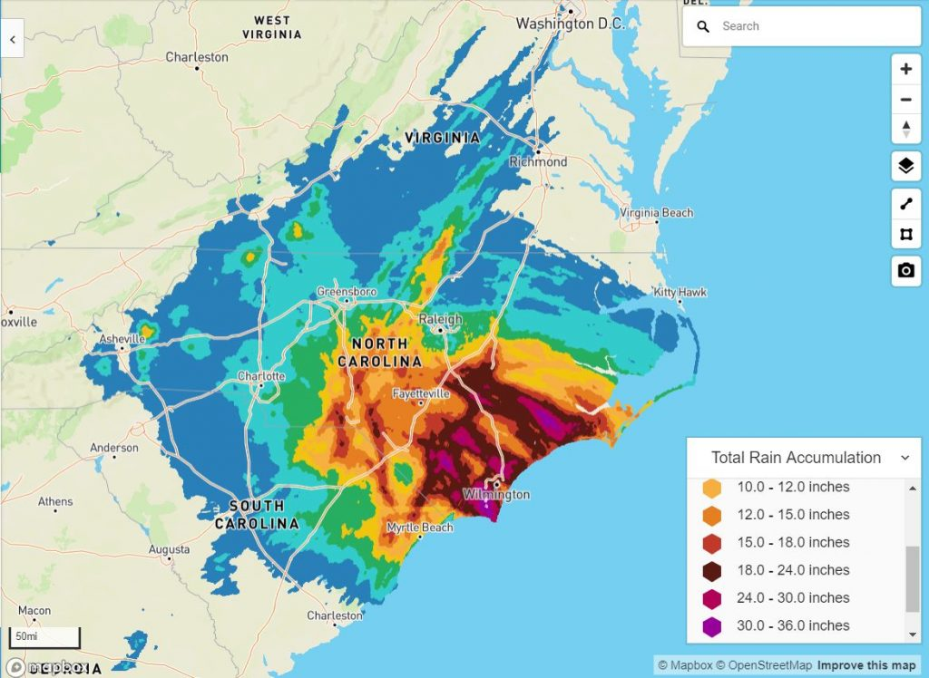 Hurricane Florence Rain Accumulations | Athenium Analytics