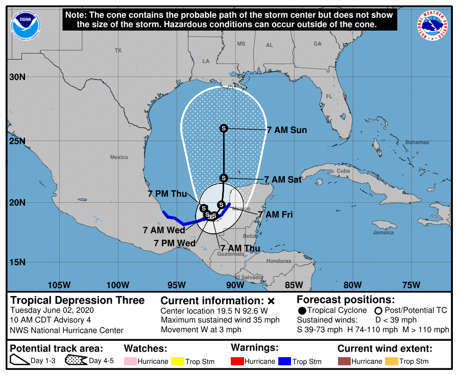 Tropical Storm Cristobal cone of uncertainty