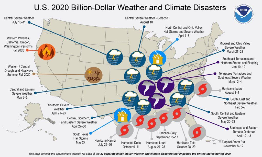 NOAA 2020 billion dollar disaster map