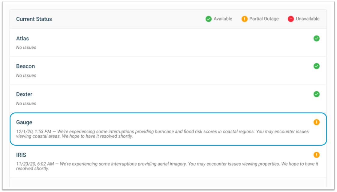 Athenium Analytics weather risk system status page
