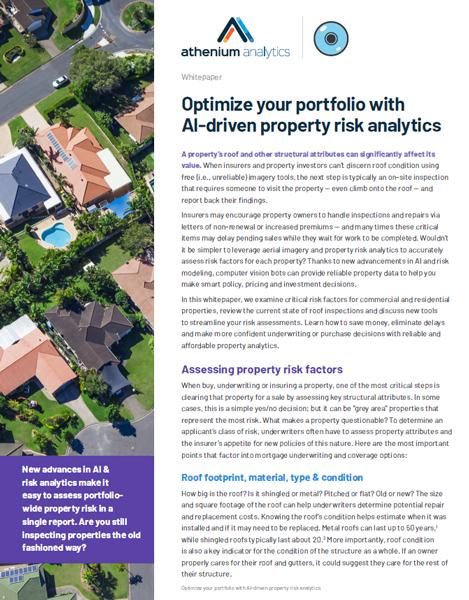 Optimize property portfolio risk whitepaper | Athenium Analytics